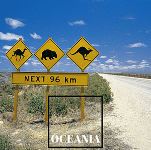 Roadsign showing kangaroos, emus and wombats for next 96 km - Guides to Oceania