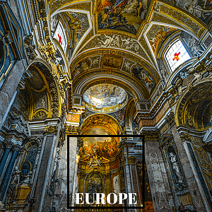 "Intricate detailing of church ceiling with text overlay ""Europe"""