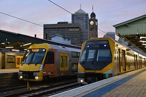 Image of two Sydney trains on the platform