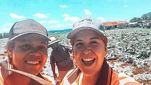 88 days of farm work - Two smiling girls taking a selfie in a field