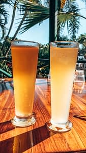 Matso's brewery, Broome - Two drinks on an outdoor table