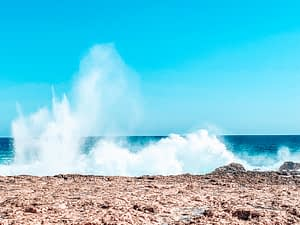 The Quobba Blow holes - Image of sea water shooting up like a blow hole