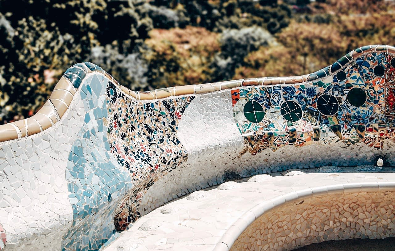 A Day in Barcelona - Tiled balcony bench overlooking Park Guell, Barcelona