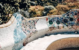 Tiled balcony bench overlooking Park Guell, Barcelona
