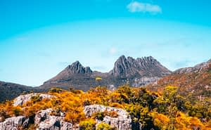 Cradle Mountain, Tasmania - Image of mountain range with orange and green bush in the forefront of the photo - Lap of Tasmania