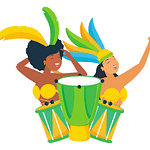 Latin America Icon - Latin Carnival dancers with drums