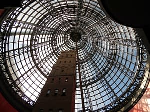 Image from below of cone shaped window ceiling - Ultimate Guide To Melbourne
