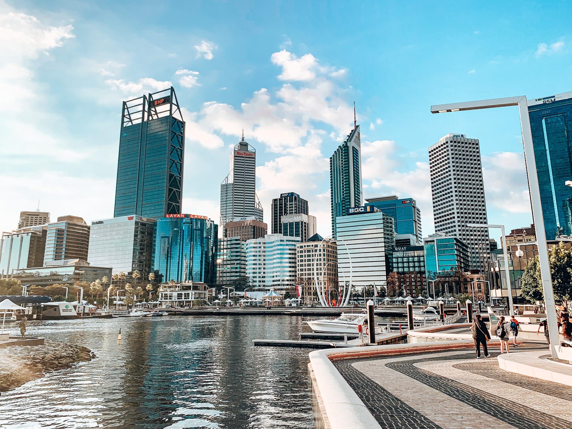 Elizabeth Quay Perth with Perth CBD Skyline in the background