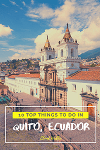 10 THINGS TO DO FROM QUITO - Header Image of White Wash building with red tiled roof with heading in centre
