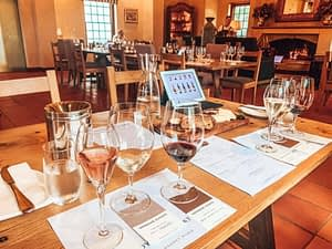 The Voyager Estate - Table with three samples of wine in grand dining room - Things To Do In Perth