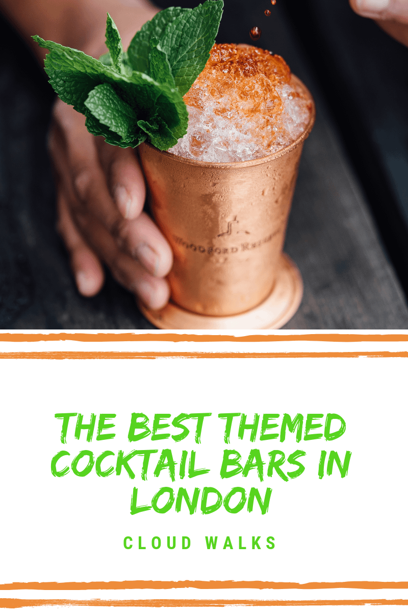 Themed Cocktails Bars London - Hand holding a copper cup filled with ice and foamy cocktail top. Text Overlay: 'Best Themed Cocktail Bars in London'