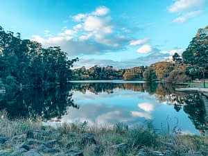 Lake Daylesford- Picturesque lake view with clouds reflecting in the waters