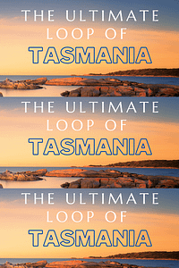 Tasmania Travel Guide Pin with image of sunsetting over the sea with bay of fire orange stones surrounding the bay - Lap of Tasmania