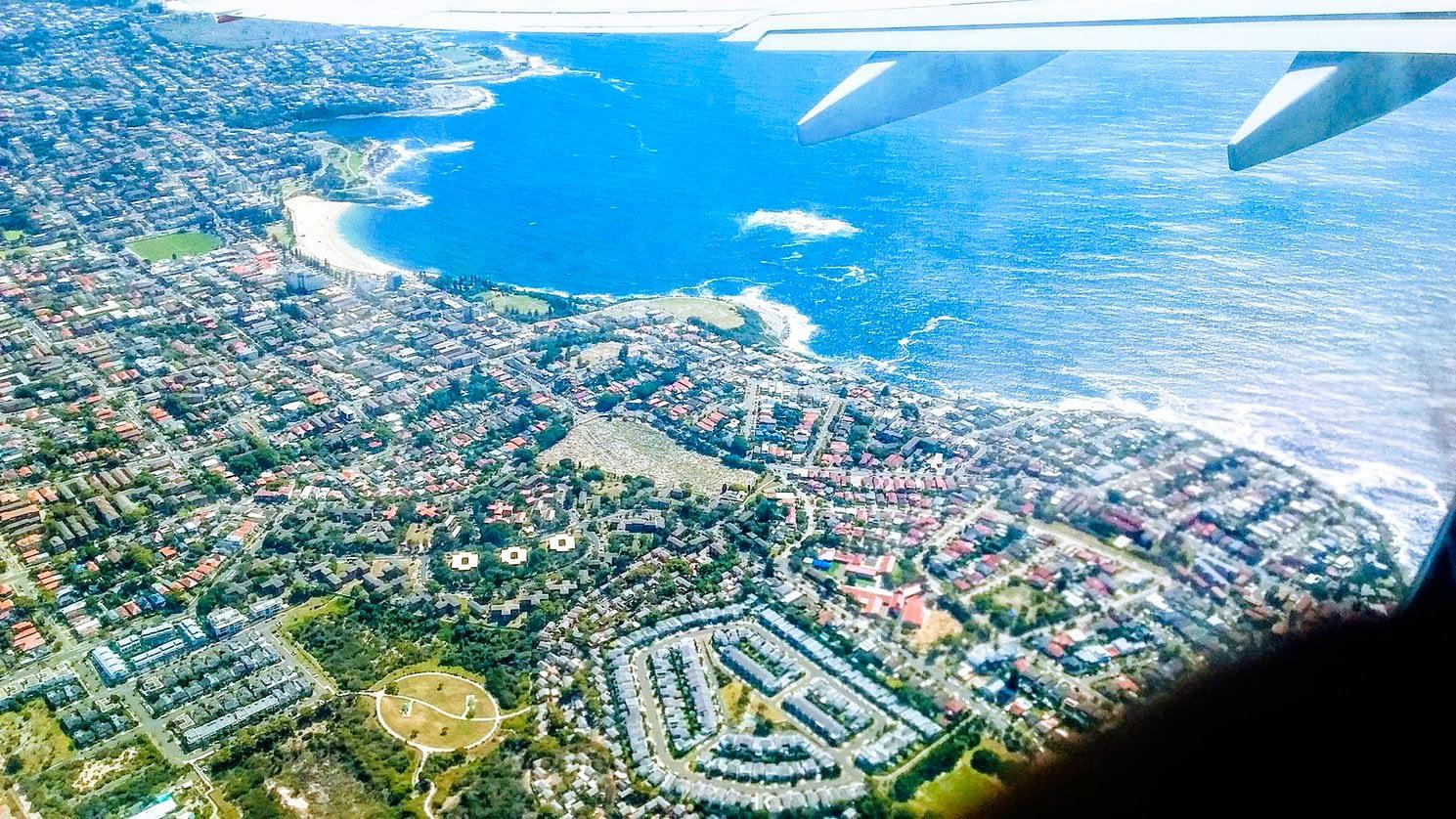 Flight to Tasmania - View from above of Tasmania coastline - Things to Do in Tasmania