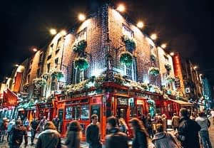 Image of famous Temple Bar pub in Dublin from the corner of the road