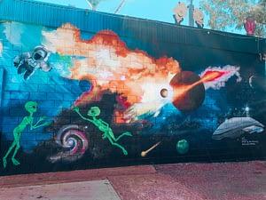 Wycliffe Well - Image of alien themed street art