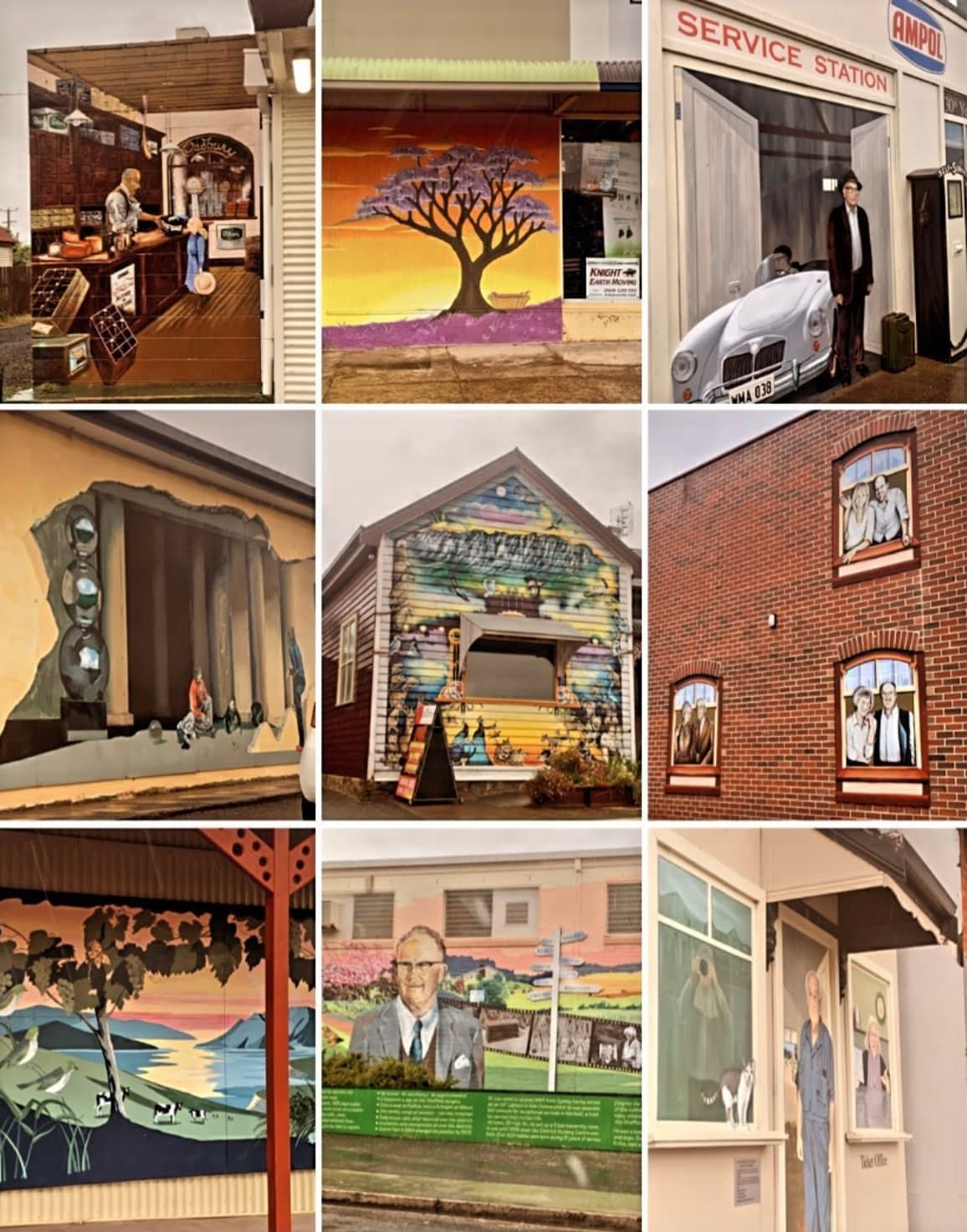 Sheffield Tasmania - Collage of mural art works - Tasmania Things To Do