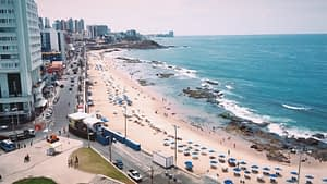 Beach in Salvador Brazil - Image overlooking large beach covered in umbrellas from above