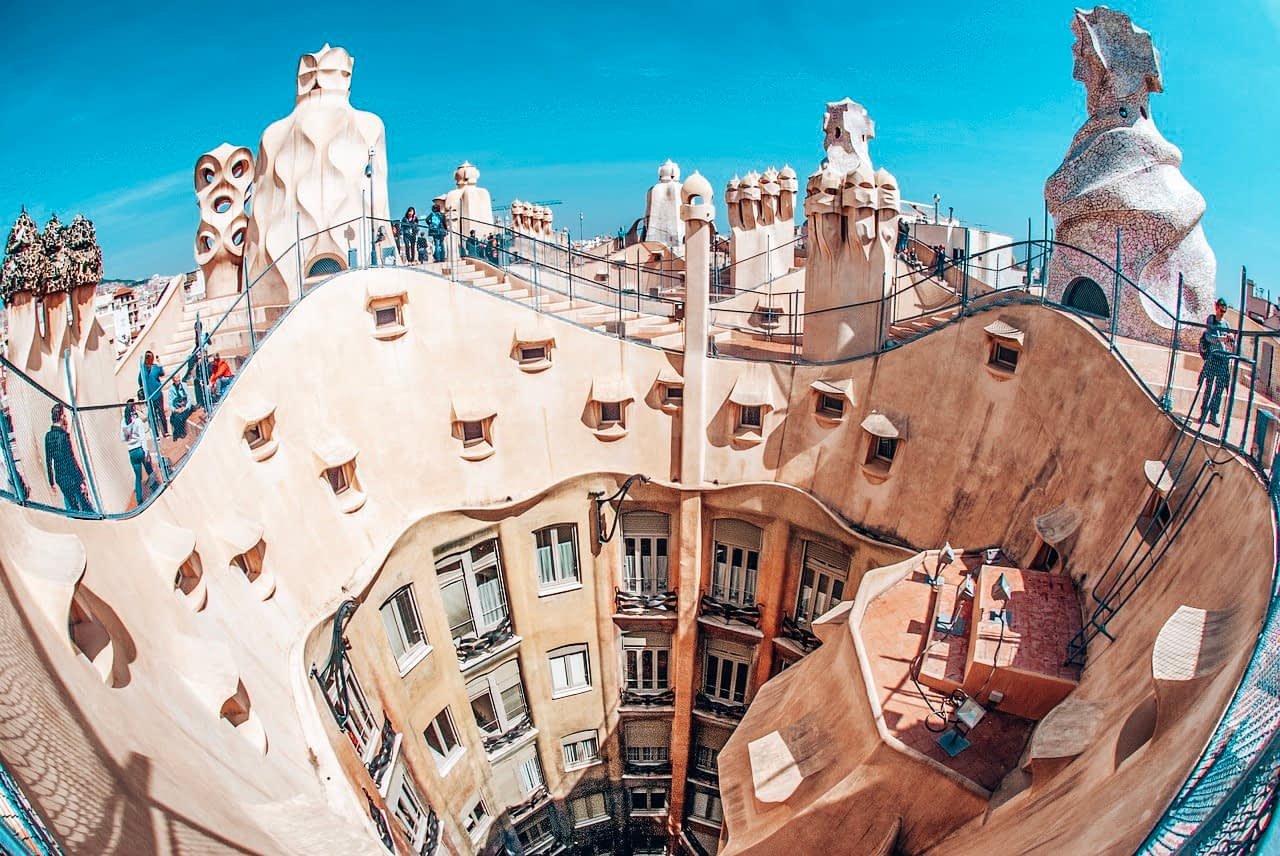 24 Hours in Barcelona Itinerary - Image of curvy building, Casa Mila in Barcelona from above