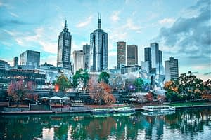 Melbourne CBD - Image of skyscrapers with river in the forefront