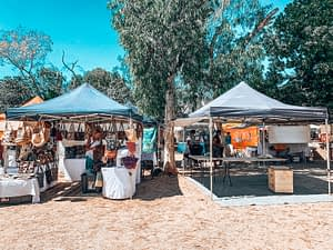 Broome Outdoor Market Stalls on a sunny day
