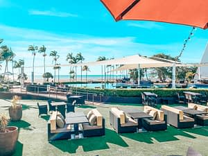 Crown Casino Darwin - Image of outdoor pool are with astroturf grass and comfortable seating.