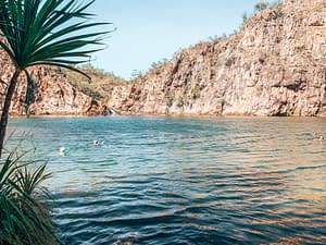 Edith Falls, Katherine - Image of people swimming in large natural pool