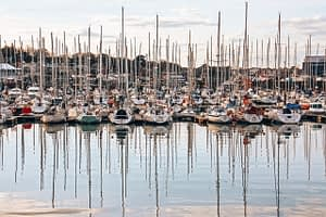 Boats moored in a dock