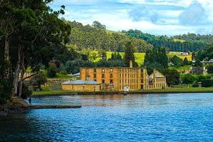 Port Arthur, Tasmania - Image of brick prison from a river boat - Lap of Tasmania