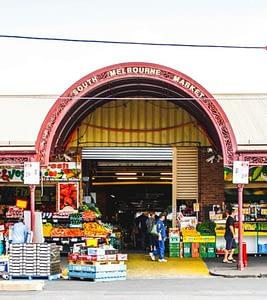 South Melbourne Market - Brick entrance labelled South Melbourne Market - Ultimate Guide To Melbourne